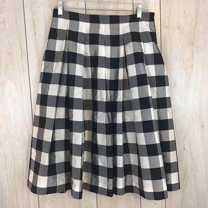 Worth Silk Plaid Pleated A-Line Skirt